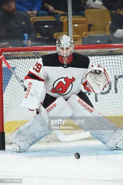Mackenzie Blackwood of the New Jersey Devils warms up before the game against the Boston Bruins at the TD Garden on March 2 2019 in Boston...