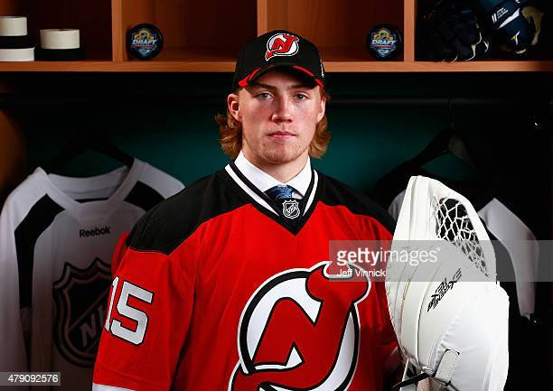Mackenzie Blackwood poses for a portrait after being selected 42nd by the New Jersey Devils during the 2015 NHL Draft at BBT Center on June 27 2015...