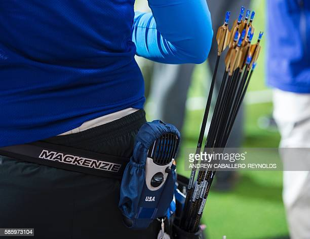 Mackenzie Brown from the US archery team wears a mosquito repellent device on her quiver at the Sambodromo stadium ahead of the 2016 Rio Olympic...