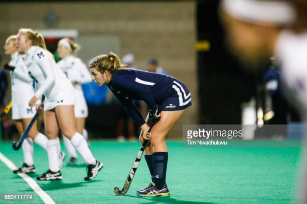 Mackenzie Brubaker of Messiah College waits at midfield during a penalty corner during the Division III Women's Field Hockey Championship held at...
