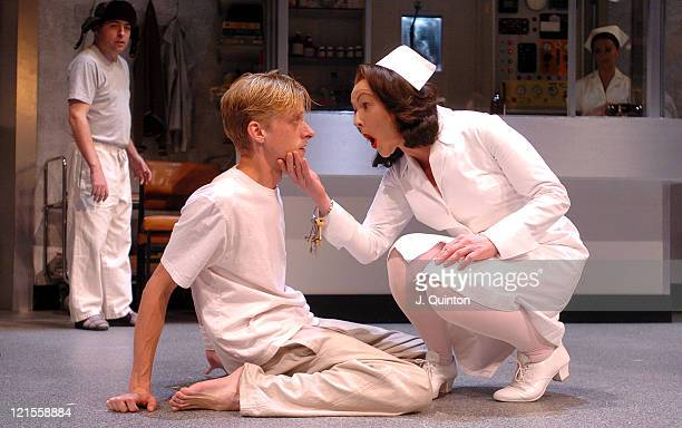 Mackenzie Crook and Frances Barber during One Flew Over The Cuckoo's Nest Photocall at Gielgud Theatre in London Great Britain