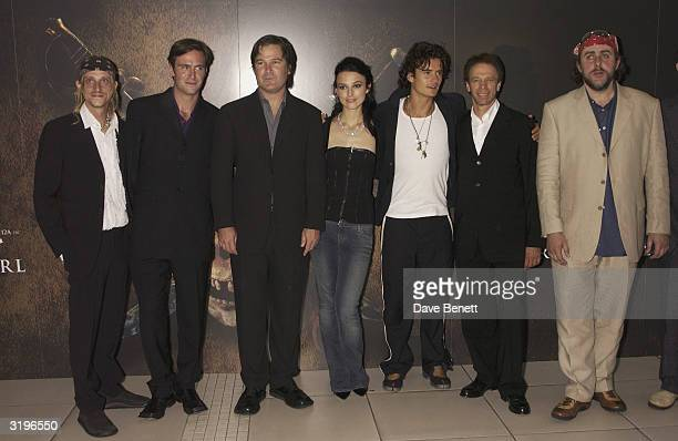 MacKenzie Crook Jack Davenport Keira Knightley Orlando Bloom Jerry Bruckheimer and Angus Darnett attend the UK Premiere of 'Pirates of The Caribbean'...
