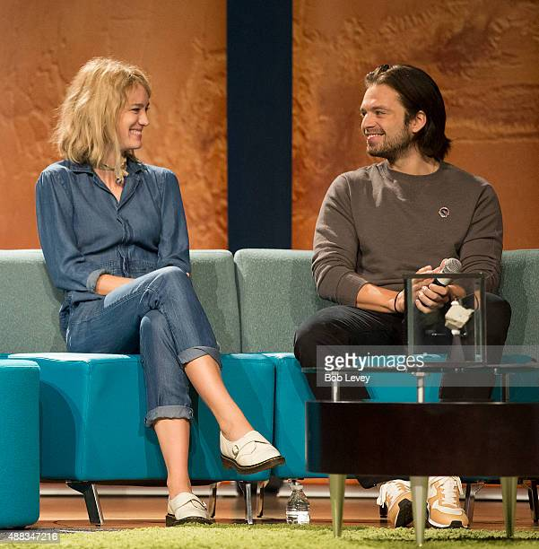 Mackenzie Davis left and Sebastian Stan cast members of the movie The Martian participate in a NASA roundtable at Lyndon B Johnson Space Center on...