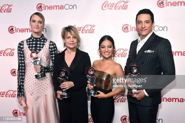 Mackenzie Davis Linda Hamilton Natalia Reyes and Gabriel Luna recipients of the CinemaCon Ensemble award attends The CinemaCon Big Screen Achievement...