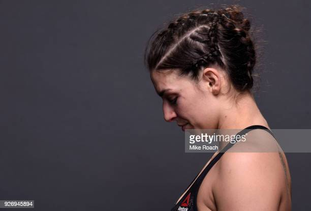 Mackenzie Dern poses for a portrait backstage after her victory over Ashley Yoder during the UFC 222 event inside TMobile Arena on March 3 2018 in...