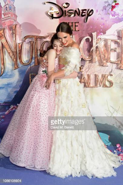 Mackenzie Foy and Keira Knightley attend the European Premiere of Disney's The Nutcracker And The Four Realms at Vue Westfield on November 1 2018 in...