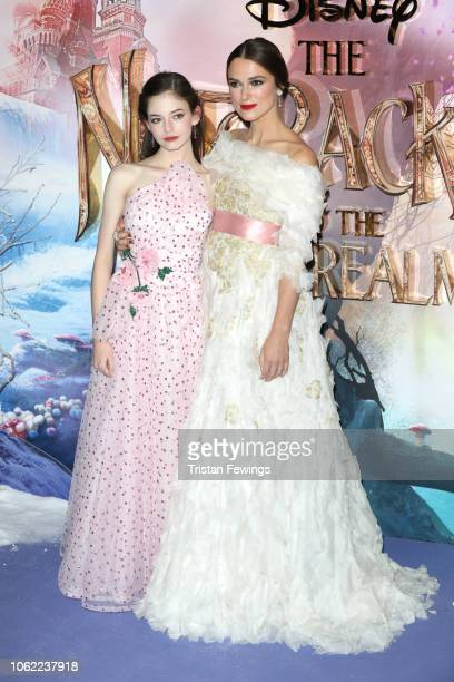 Mackenzie Foy and Keira Knightley attend the European Premiere of Disney's 'The Nutcracker' at Vue Westfield on November 01 2018 in London England