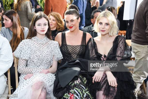 Mackenzie Foy Shailene Woodley and Lucy Boynton attend Rodarte FW19 Fashion Show at The Huntington Library and Gardens on February 05 2019 in San...