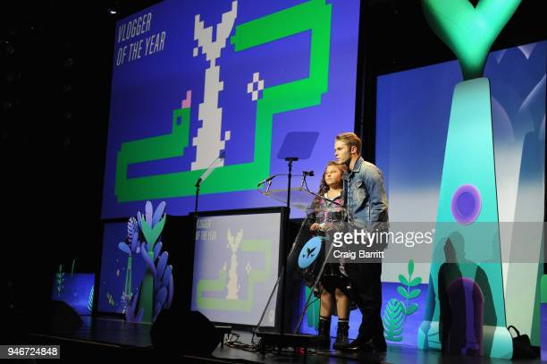 Mackenzie Hancsicsak and Logan Shroyer speak onstage during the 10th Annual Shorty Awards at PlayStation Theater on April 15 2018 in New York City