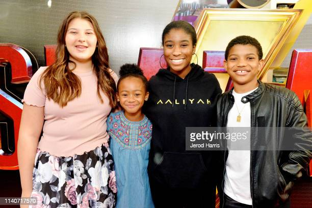 Mackenzie Hancsicsak Faithe Herman Lyric Ross and Lonnie Chavis attend handprint ceremony at Theatre Box® Entertainment Complex on April 05 2019 in...