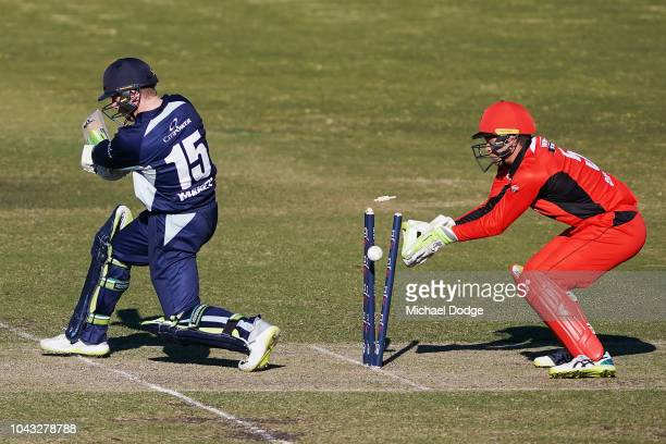 Mackenzie Harvey of Victoria is bowled by Adam Zampa of South Australia celebrates a wicket with teammates during the JLT One Day Cup match between...