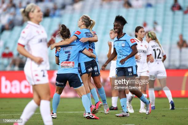 Mackenzie Hawkesby of Sydney FC celebrates scoring a penalty goal during the round four W-League match between Sydney FC and the Western Sydney...