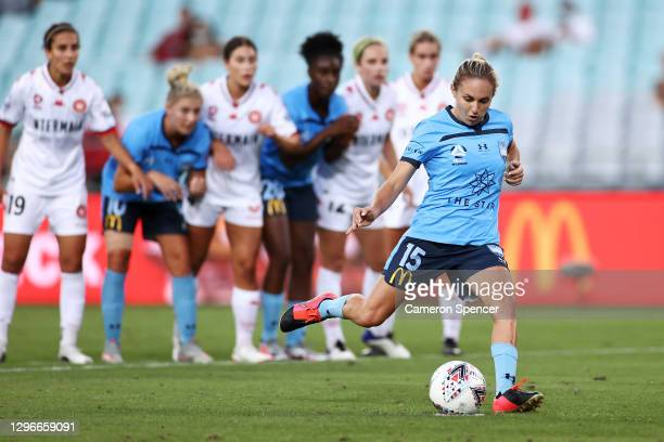 Mackenzie Hawkesby of Sydney FC scores a penalty goal during the round four W-League match between Sydney FC and the Western Sydney Wanderers at ANZ...