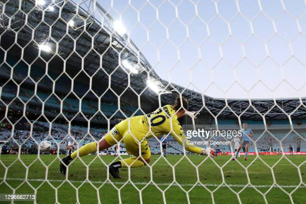 Mackenzie Hawkesby of Sydney FC scores a penalty goal past Courtney Newbon of the Wanderers during the round four W-League match between Sydney FC...