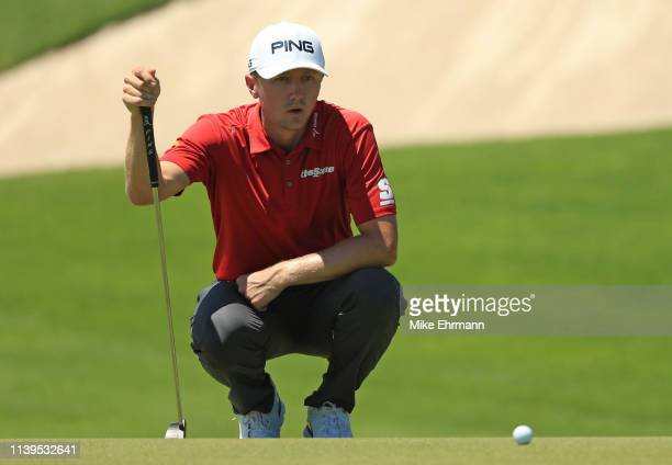 Mackenzie Hughes of Canada lines up a putt on the seventh hole during the final round of the Corales Puntacana Resort Club Championship on March 31...