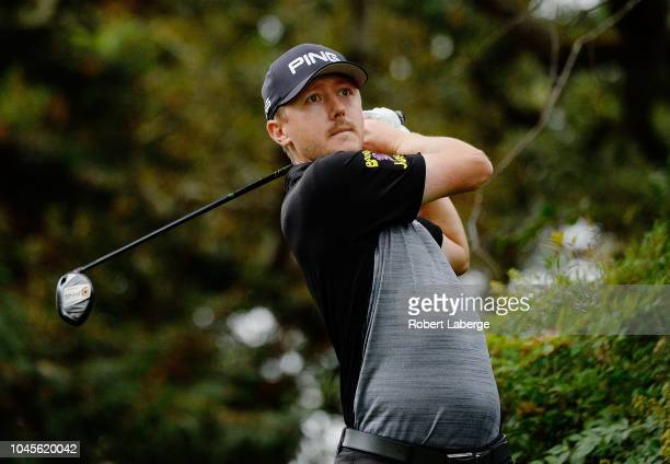 Mackenzie Hughes of Canada plays his shot from the eighth tee during round one of the Safeway Open at the North Course of the Silverado Resort and...