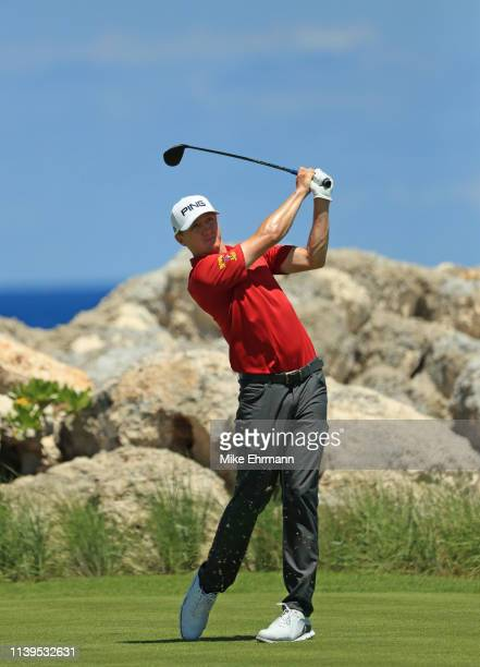 Mackenzie Hughes of Canada plays his shot from the eighth tee during the final round of the Corales Puntacana Resort Club Championship on March 31...