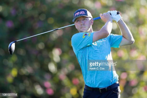 Mackenzie Hughes of Canada plays his shot from the fifth tee during the second round of the Sony Open In Hawaii at Waialae Country Club on January 11...