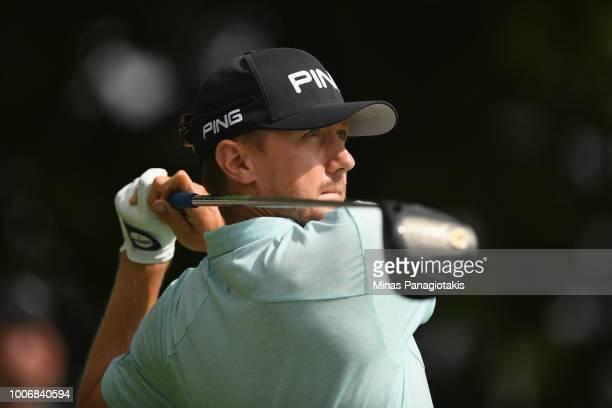 Mackenzie Hughes of Canada plays his shot from the first tee during the third round at the RBC Canadian Open at Glen Abbey Golf Club on July 28 2018...