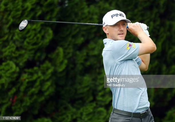 Mackenzie Hughes of Canada plays his shot from the ninth tee during the second round of the Travelers Championship at TPC River Highlands on June 21...