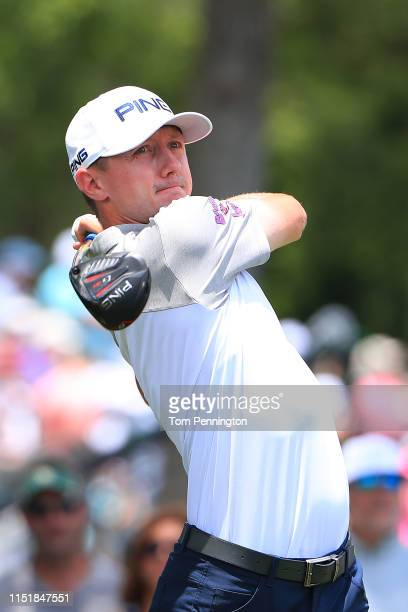 Mackenzie Hughes of Canada plays his shot from the third tee during the final round of the Charles Schwab Challenge at Colonial Country Club on May...