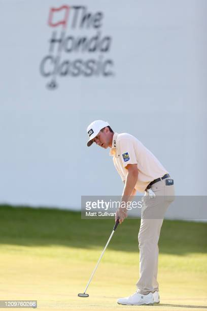 MacKenzie Hughes of Canada putts on the 16th hole during the Honda Classic at PGA National Resort and Spa Champion course on March 01 2020 in Palm...
