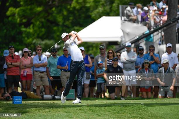 Mackenzie Hughes of Canada tees off on the third tee during the final round of the Charles Schwab Challenge at Colonial Country Club on May 26 2019...