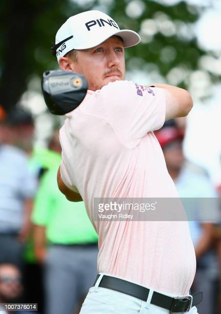 Mackenzie Hughes plays his shot from the first tee during the final round at the RBC Canadian Open at Glen Abbey Golf Club on July 29 2018 in...