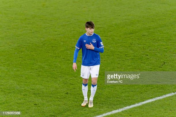 Mackenzie Hunt of Everton during the FA Youth Cup match between Everton and Brighton Hove Albion at Goodison Park on February 12 2019 in Liverpool...