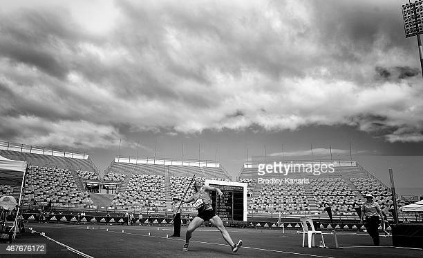 Mackenzie Little competes in the Women's Javelin Open event during the Australian Athletics Championships at the Queensland Sports and Athletics...