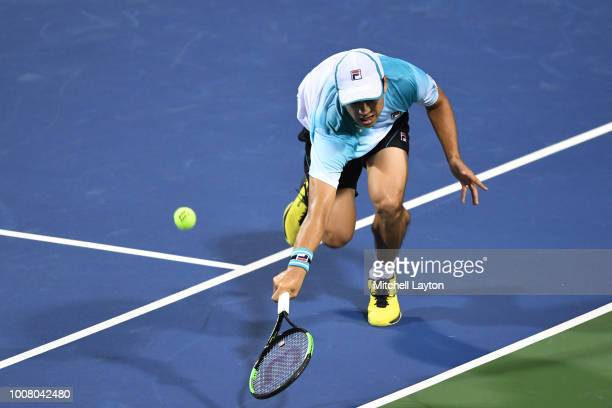 Mackenzie McDonald dives to return a shot to Andy Murray during the Citi Open at the Rock Creek Tennis Center on July 30 2018 in Washington DC