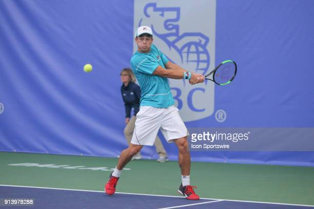 Mackenzie McDonald hits a backhand during the RBC Tennis Championships of Dallas on February 3 2018 at the T Bar M Racquet Club in Dallas Texas