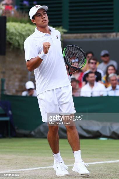 Mackenzie McDonald of the United States celebrates a point against Guido Pella of Argentina during their Men's Singles third round match on day five...