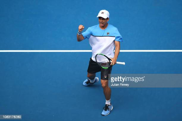 Mackenzie Mcdonald of the United States celebrates in his second round match against Marin Cilic of Croatia during day three of the 2019 Australian...