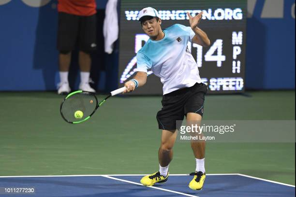 Mackenzie McDonald of the United States hits a forehand shot to Andy Murray of Great Britain during day three of the Citi Open at the Rock Creek...