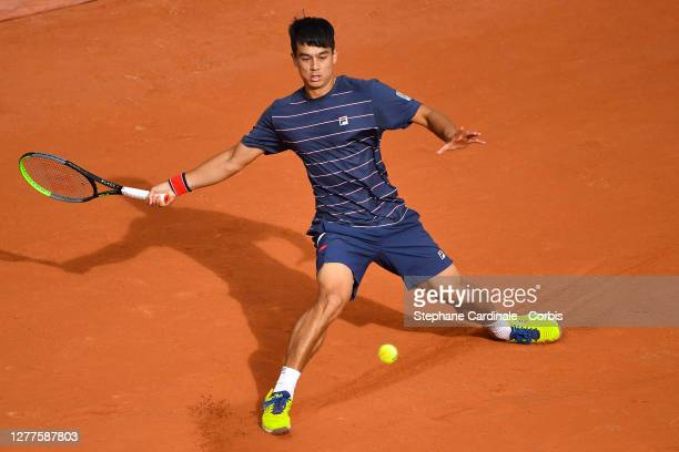 Mackenzie McDonald of the United States in action during his Men's Singles second round match against Rafael Nadal of Spain on day four of the 2020...