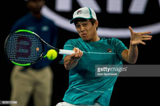 Mackenzie McDonald of the United States of America plays a shot in his Second Round match during the 2018 Australian Open on January 17 at Melbourne...