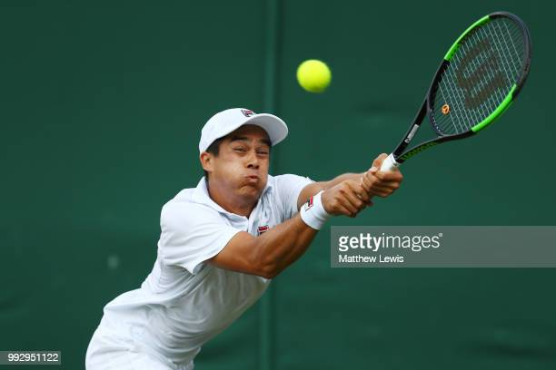 Mackenzie McDonald of the United States returns a shot to Guido Pella of Argentina during their Men's Singles third round match on day five of the...