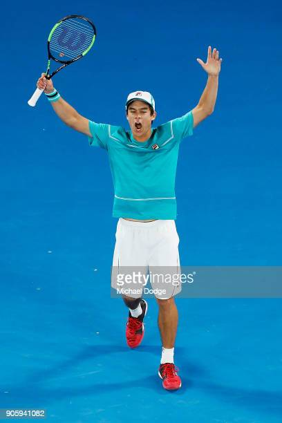 Mackenzie McDonald of the United States tries to rev up the crowd in his second round match against Grigor Dimitrov of Bulgaria on day three of the...