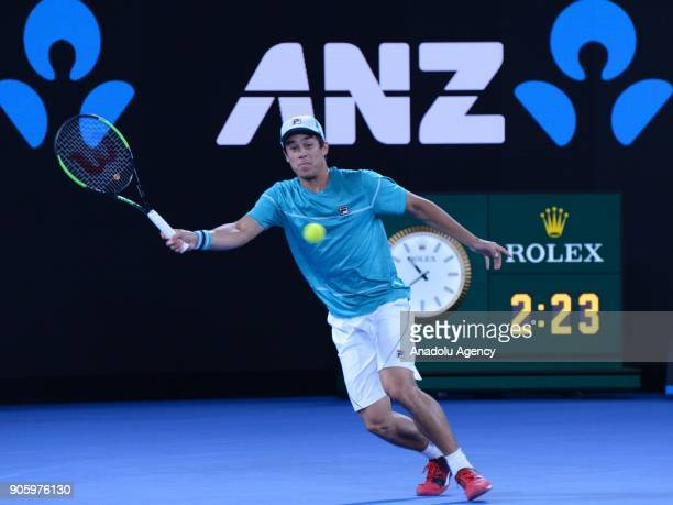 Mackenzie McDonald of USA competes with Grigor Dimitrov of Bulgaria on day three of the 2018 Australian Open at Melbourne Park on January 17 2018 in...