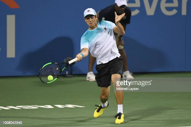 Mackenzie McDonald returns a forehand to Andy Murray during the Citi Open at the Rock Creek Tennis Center on July 30 2018 in Washington DC
