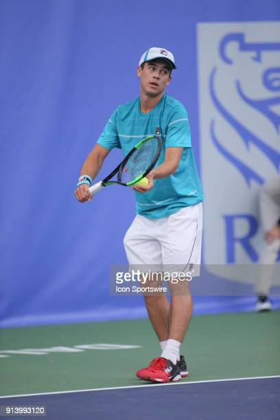 Mackenzie McDonald serves during the RBC Tennis Championships of Dallas on February 3 2018 at the T Bar M Racquet Club in Dallas Texas