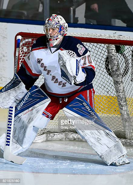 Mackenzie Skapski of the Hartford Wolf Pack skates in warmup prior to a game against the Toronto Marlies on April 13 2016 at the Ricoh Coliseum in...