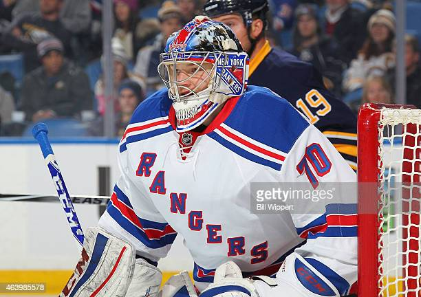 Mackenzie Skapski of the New York Rangers playing in his first NHL game follows the play against the Buffalo Sabres on February 20 2015 at the First...