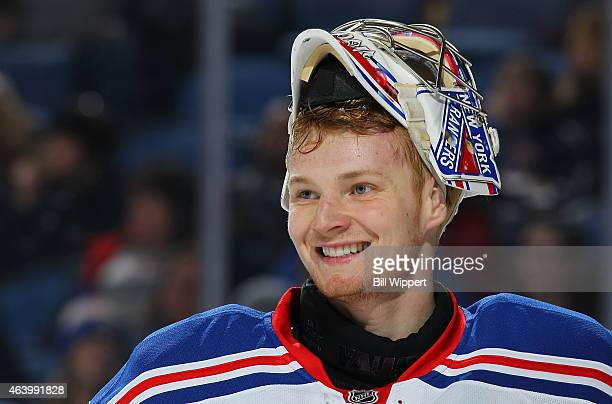 Mackenzie Skapski of the New York Rangers playing in his first NHL game flashes a smile during their game against the Buffalo Sabres on February 20...