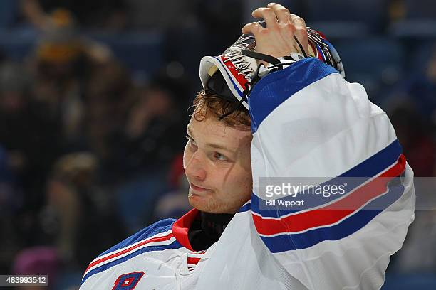 Mackenzie Skapski of the New York Rangers playing in his first NHL game takes a break during their game against the Buffalo Sabres on February 20...