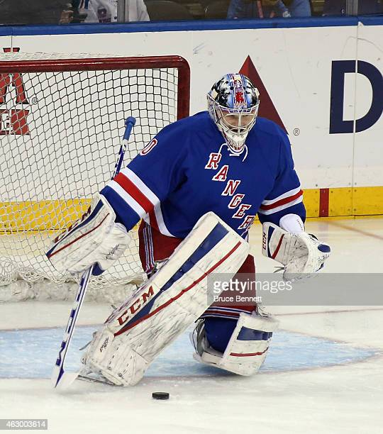 Mackenzie Skapski of the New York Rangers skates in warmups prior to the game against the Dallas Stars at Madison Square Garden on February 8 2015 in...