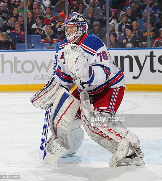 Mackenzie Skapski of the New York Rangers tends goal against the Buffalo Sabres on February 20 2015 at the First Niagara Center in Buffalo New York