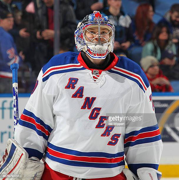Mackenzie Skapski of the New York Rangers warms up before their game against the Buffalo Sabres on February 20 2015 at the First Niagara Center in...