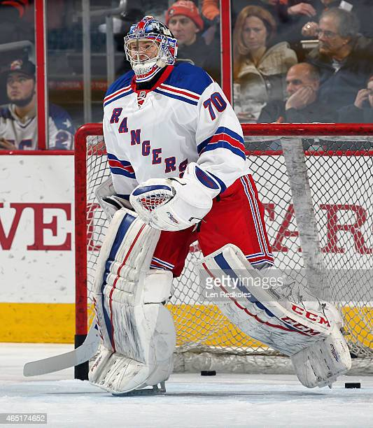 Mackenzie Skapski of the New York Rangers warms up prior to his game against the Philadelphia Flyers on February 28 2015 at the Wells Fargo Center in...